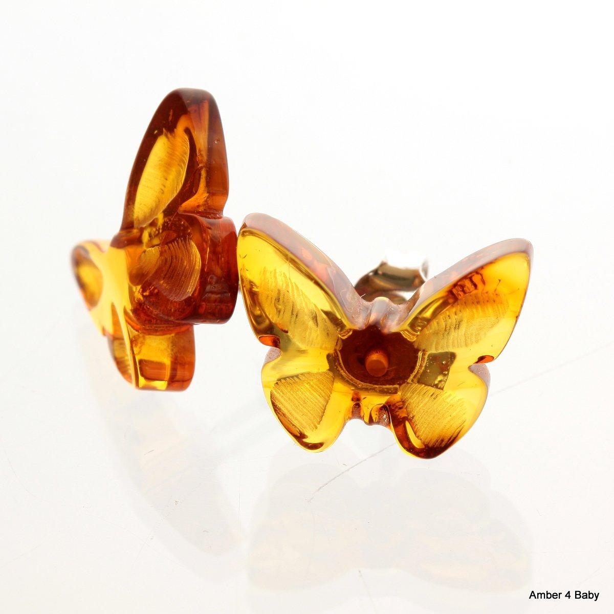 Handmade Authentic Multi-color Baltic Amber Stud Flower Earrings 925 Sterling...