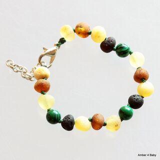 Gemstone Raw Baltic Amber Teething Bracelet for Babies