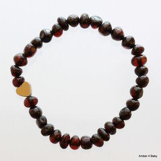Heart Baltic Amber Teething Bracelet for Babies