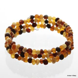 Raw Memory wire Baltic Amber Bracelet for Adults