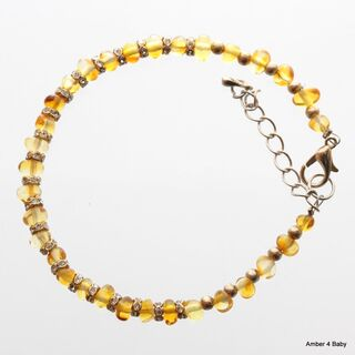 Wire Baltic Amber Bangle Bracelet for Adults