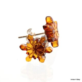 Carved Snowflake Baltic Amber Stud Earrings
