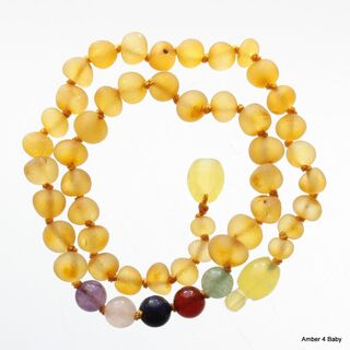 Gemstone Raw Baltic Amber Teething Necklace for Baby