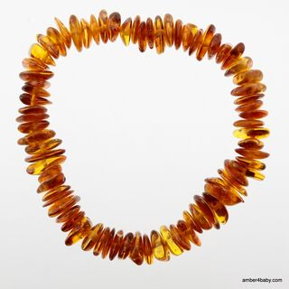 Cognac Chips Baltic Amber Stretch Bracelet 18cm