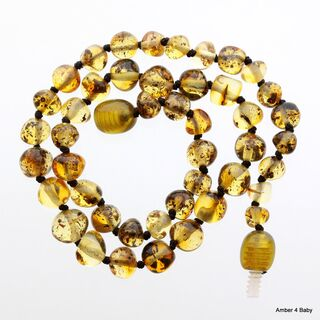 Green Baltic Amber Teething Necklace for Baby