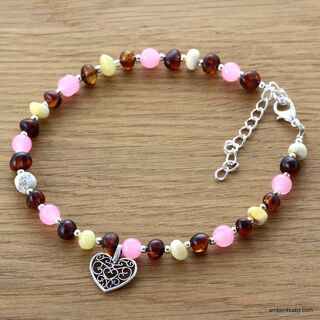 Heart Baltic Amber Anklet Gemstone Bracelet for Adults