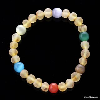 Raw Gemstone Baltic Amber Teething Bracelet for Babies
