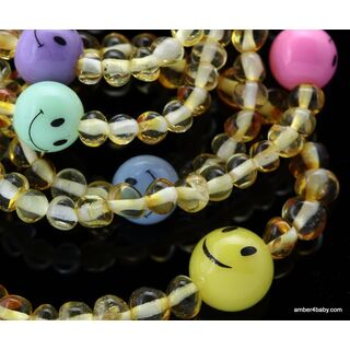 Smiley Baltic Amber Teething Bracelet for Babies