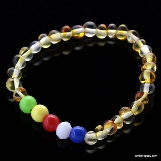 Colors Baltic Amber Teething Bracelet for Babies