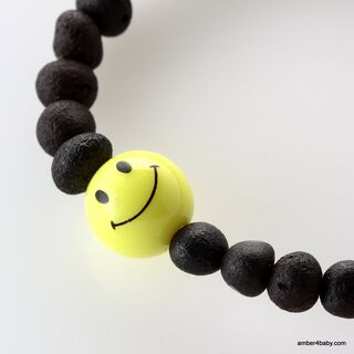 Smiley Raw Baltic Amber Teething Bracelet for Babies