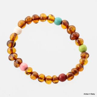 Gemstone Baltic Amber Teething Bracelet for Babies