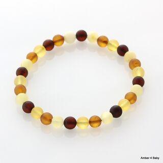 Raw ROUND beads Baltic amber stretchy bracelet