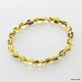 Polished OLIVE beads Baltic amber stretchy bracelet