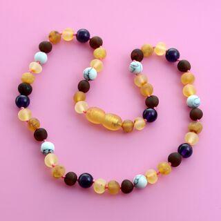 Raw Honey Gems Baroque Teething Baltic amber Necklace