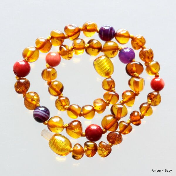 Gemstone Baltic Amber Teething Necklace for Baby