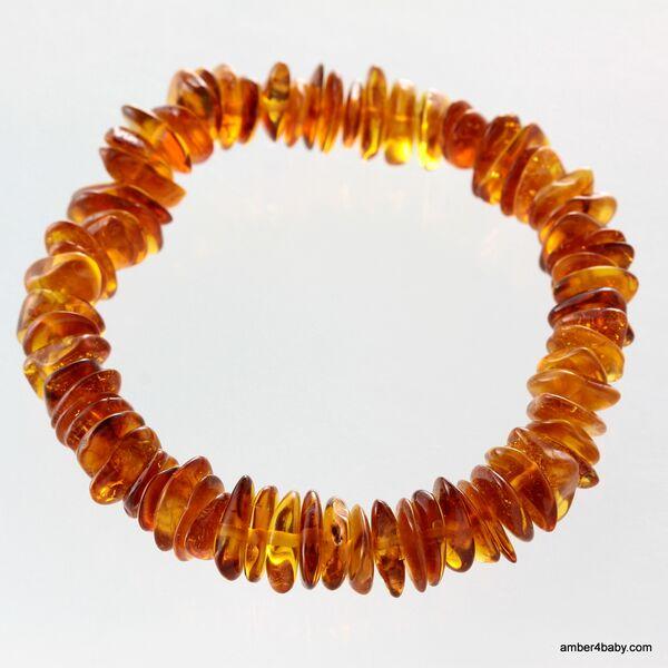 Cognac Chips Baltic Amber Stretch Bracelet 18cm