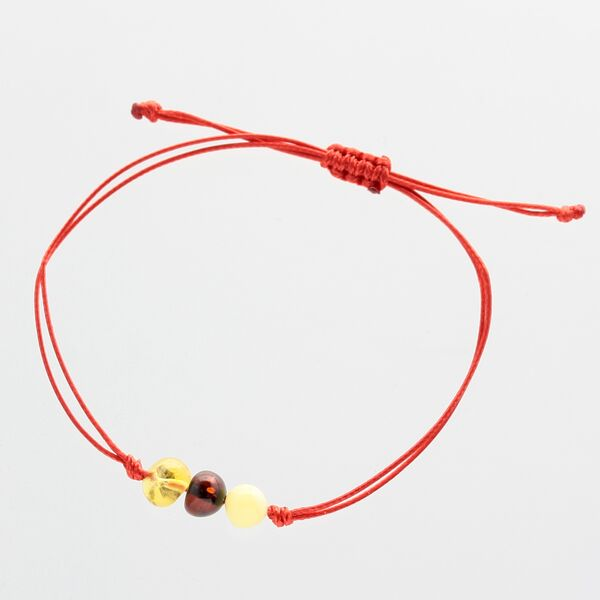 Red String Baltic Amber Bracelet for Adults