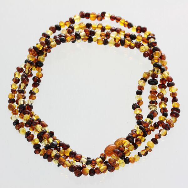 Multi-Strand Baltic Amber Bead Necklace 120cm