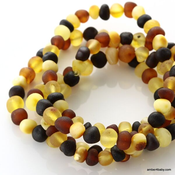 Raw Multi Baltic Amber Stretchy Bracelet for Adults