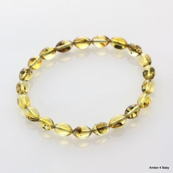 Polished OLIVE beads Baltic amber stretchy bracelet