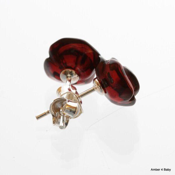 Carved Rose Baltic Amber Stud Earrings